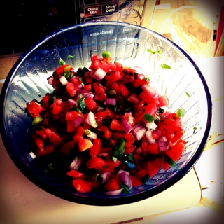 Salsa Fresca in Blue Glass Bowl