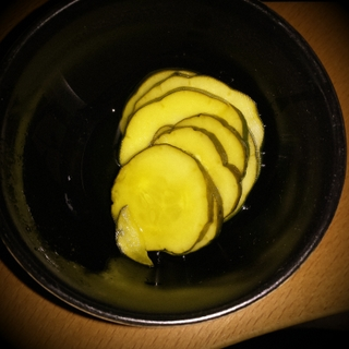 Bread and Butter Pickles in Black Bowl